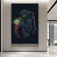Modern Fun Astronaut Playing Jellyfish In Space Canvas Painting Posters and Prints Wall Art Picture for Living Room Decor Cuadro