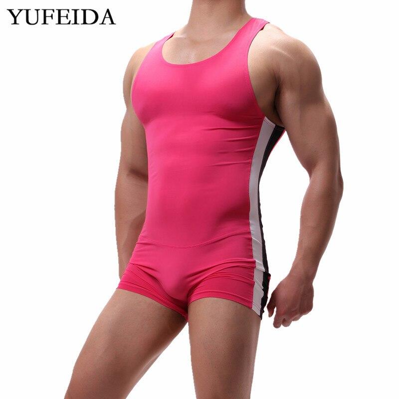 Sexy Mens Underwear Leotard Sports Fitness Bodysuits Wrestling Singlet Undershirts Shorts Seamless Slip Penis Pouch Jumpsuits