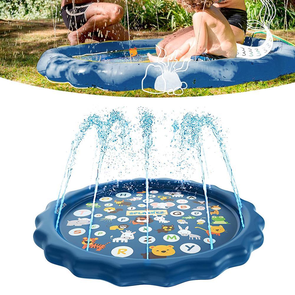 170cm Dark Color Animal Letter Inflatable Spray Water Outdoor Home Garden Kids Play Mat Sprinkler Pad