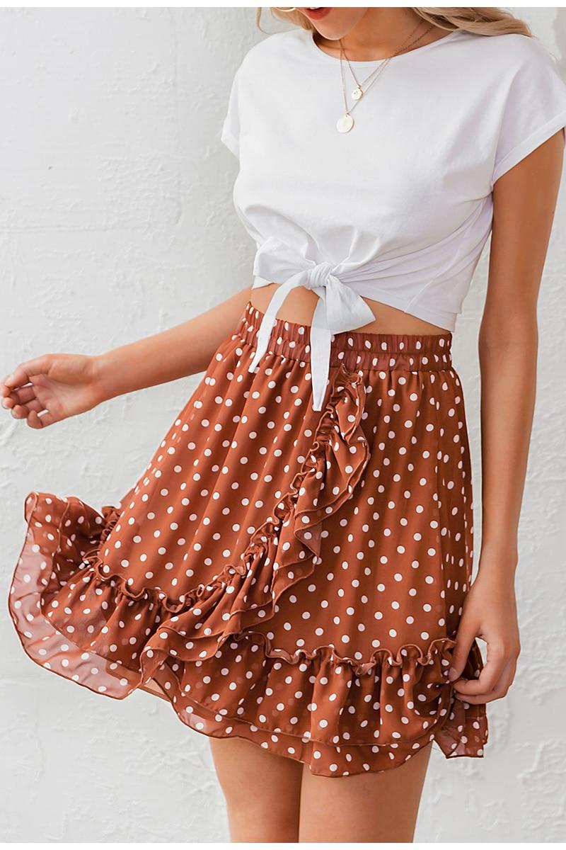 BerryGo Elegant polka dot print mini skirts womens A-line ruffled female skirt 2020 Spring summer holiday beach skirts ladies 17
