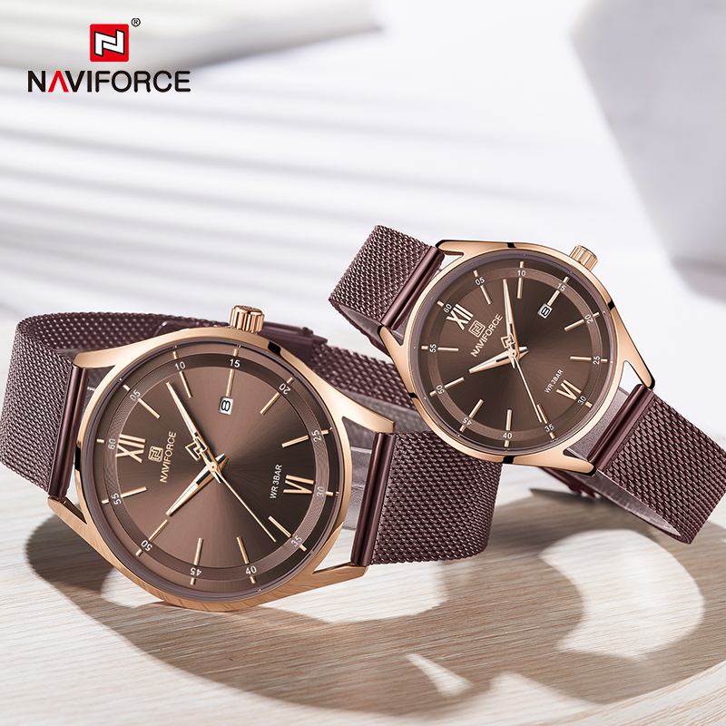 Top Luxury Brand NAVIFORCE Couple Watches Mesh Steel Quartz Clock Male Waterproof Men Women Lover's Wristwatch Relogio Masculino