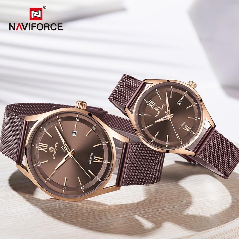 Top Luxury Brand NAVIFORCE Couple Watches Mesh Steel Quartz Clock Male Waterproof Men Women Lover's Wristwatch Relogio Masculino