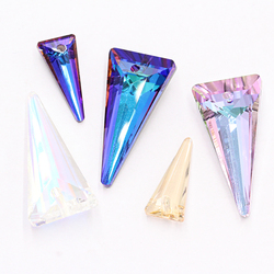Two Sizes Triangle Shaped Pendant Crystal Rhinestones Electroplating Jewelry Accessories DIY Earring K9 Glass Pendant One Hole
