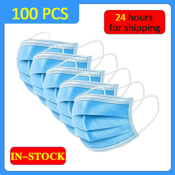 Real Stock 100PCS Disposable Surgical Medical Mask 3-Ply Anti-dust Mask Non-Woven Face Mask Elastic Earloop Mask Fast Shipping