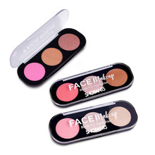 Shopants 3 Warna Blush Wajah Stabilo Palet Bronzer Make Up Shimmer Matte Stabilo Bubuk Diterangi Maquiagem(China)