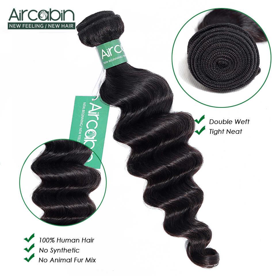 Aircabin Losse Diepe Golf Bundels Braziliaanse Haar Weave 100% Bundels Remy Human Hair 1/3/4 Bundels Natuurlijke Kleur Haar extension