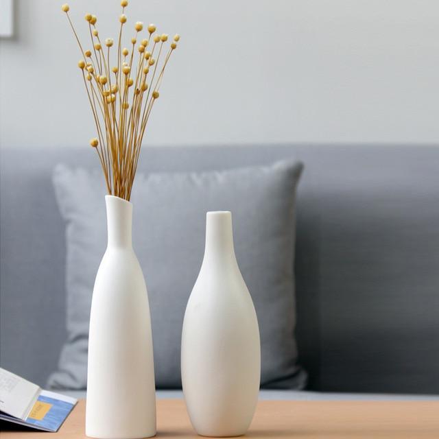 White ceramic vase living room decoration home decor flower container modern wedding centerpiece Table Top Vase for Floral H22cm 4