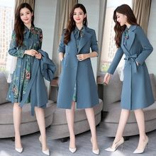 Spring Autumn Trench Coat Slim OL Ladies Trench Coat Women Dress Women Windbreakers Plus Size Two Pieces Women Sets Trench Coats cheap WSRYXG CN(Origin) Spring Autumn Full Broadcloth Office Lady Polyester Button Pockets Spliced Print long 4A525 V-Neck Single Breasted