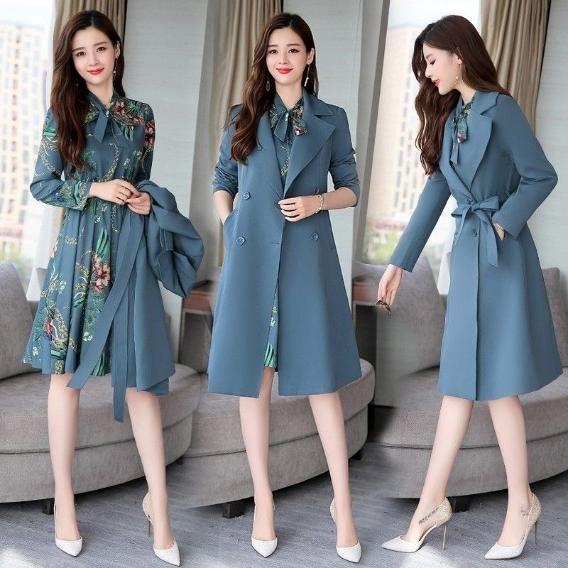Spring Autumn Trench Coat Slim OL Ladies Trench Coat Women Dress Women Windbreakers Plus Size Two Pieces Women Sets Trench Coats(China)