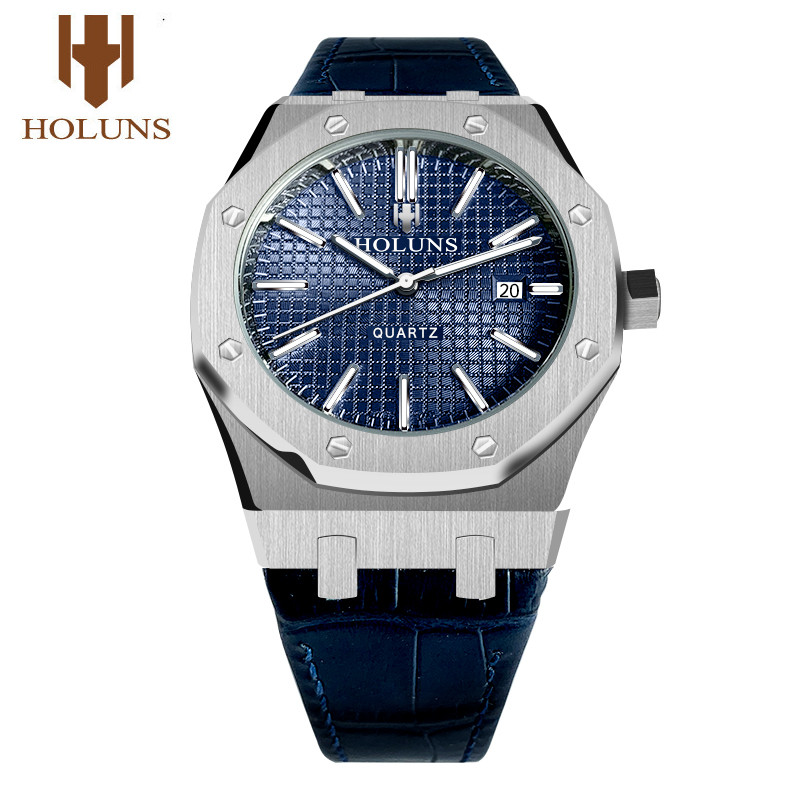 HOLUNS Watch Men Watches Top Brand Luxury MIYOTA Quartz Watch 41mm Big Dial Full Stainless Steel Sapphire Waterproof Luminous