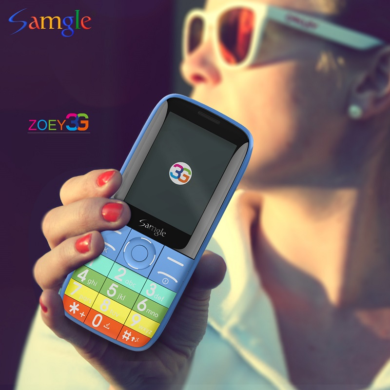 Simple Bar Cellphone For Elder People Samgle 3G WCDMA HD Display Large Key Torch Long Standby Loud Sound Whatsapp Feature Phone