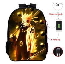 Anime Naruto Sauke Itachi Multifunction Backpacks for Teenagers Boys Girl USB Charging Headphone Jack School Bags Travel Bagpack