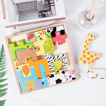 1 Set Woodern Animal Building blocks Children Early Eductional Early Learning Montessori Toy Colorful Beech Wood Educational Toy montessori colorful wood cube blocks blocks baby recognition intelligence early learning educational toy bricks wooden children
