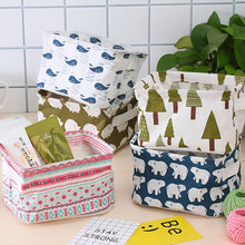 Socks Storage Toiletries-Organizer Jewelry Cosmetic Fabric Desktop Foldable Cotton Basket-Bags