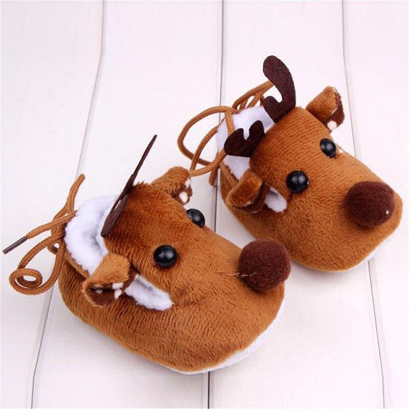 Warm Winter Baby Christmas Deer Shoes Sweet Antiskid Toddlers Shoes Baby Girls Infant Prewalkers 0-12M