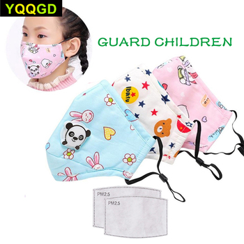 1Pcs Winter Children Mask Respiratory Valve Cartoon Panda Thicken Smog Mask Warm Mask Fits 2-10 Years Old Kids