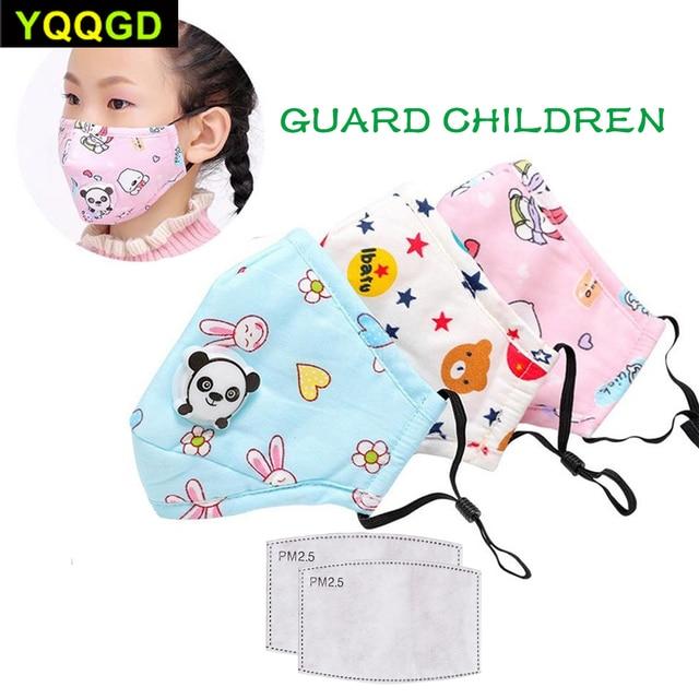 1Pcs Winter Children Mask Respiratory Valve Cartoon Panda Thicken Smog Mask Warm Mask Fits 2-10 Years Old Kids