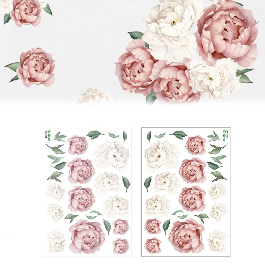 Self-adhesive Wall Sticker Diy Peony Wall Stickers Creative Blossoming Wall Stickers Livingroom Bedroom Peony Decorations G2Q4