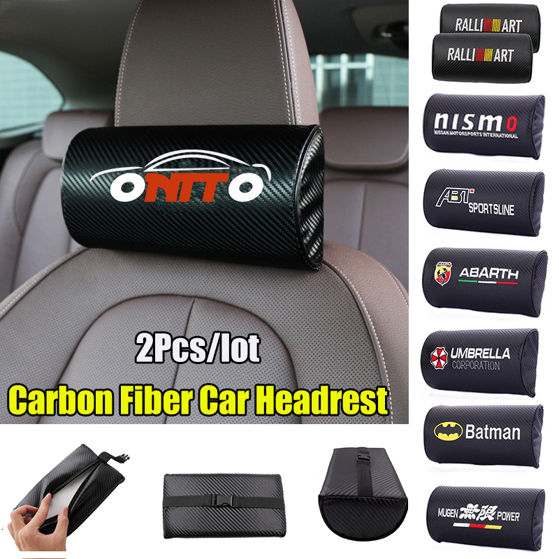 2pcs lot Carbon Fiber Car Headrest Neck Safety Pillow Pad Auto Interior Accessory For bmw audi benz skoda mazda toyota all car