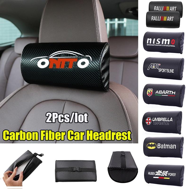 2pcs/lot Carbon Fiber Car Headrest Neck Safety Pillow Pad Auto Interior Accessory For Bmw Audi Benz Skoda Mazda Toyota All Car