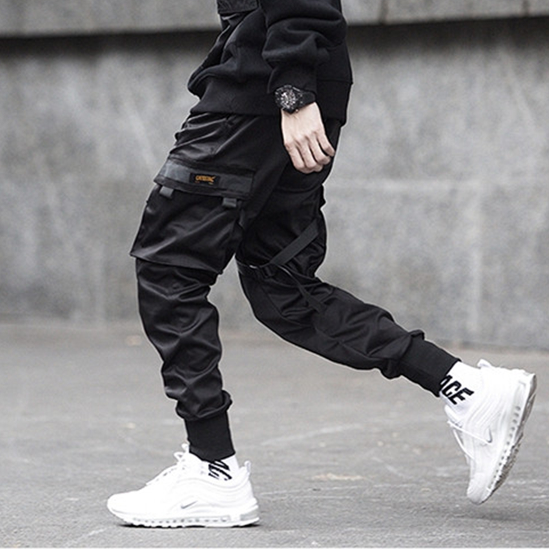Ribbons Hip Hop Cargo Pants Men Black Pocket Streetwear Harajuku Techwear Pants Trousers Harem Joggers Sweatpants