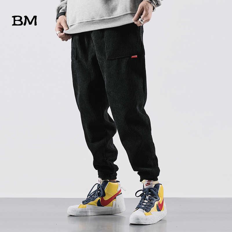 Corduroy Broek Slanke Hip Hop Mannen Casual Broek Streetwear Fashions Black Jogger Broek Koreaanse Stijl Kleding 2019 Kleding Mannelijke