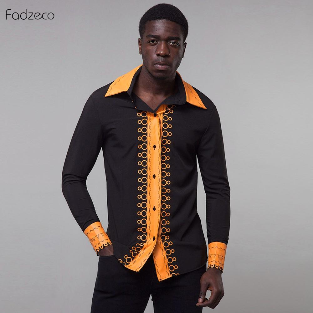 Fadzeco <font><b>African</b></font> <font><b>Men's</b></font> Clothes Dashiki Black Long <font><b>Shirt</b></font> Floral <font><b>Wax</b></font> print Long sleeve <font><b>Shirt</b></font> <font><b>African</b></font> Clothing Bazin Riche Classic image