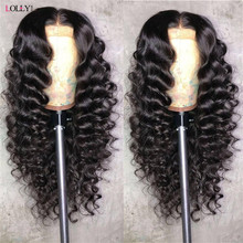 Peluca de cabello humano para mujeres negras malla con división, 28, 30, 32 pulgadas