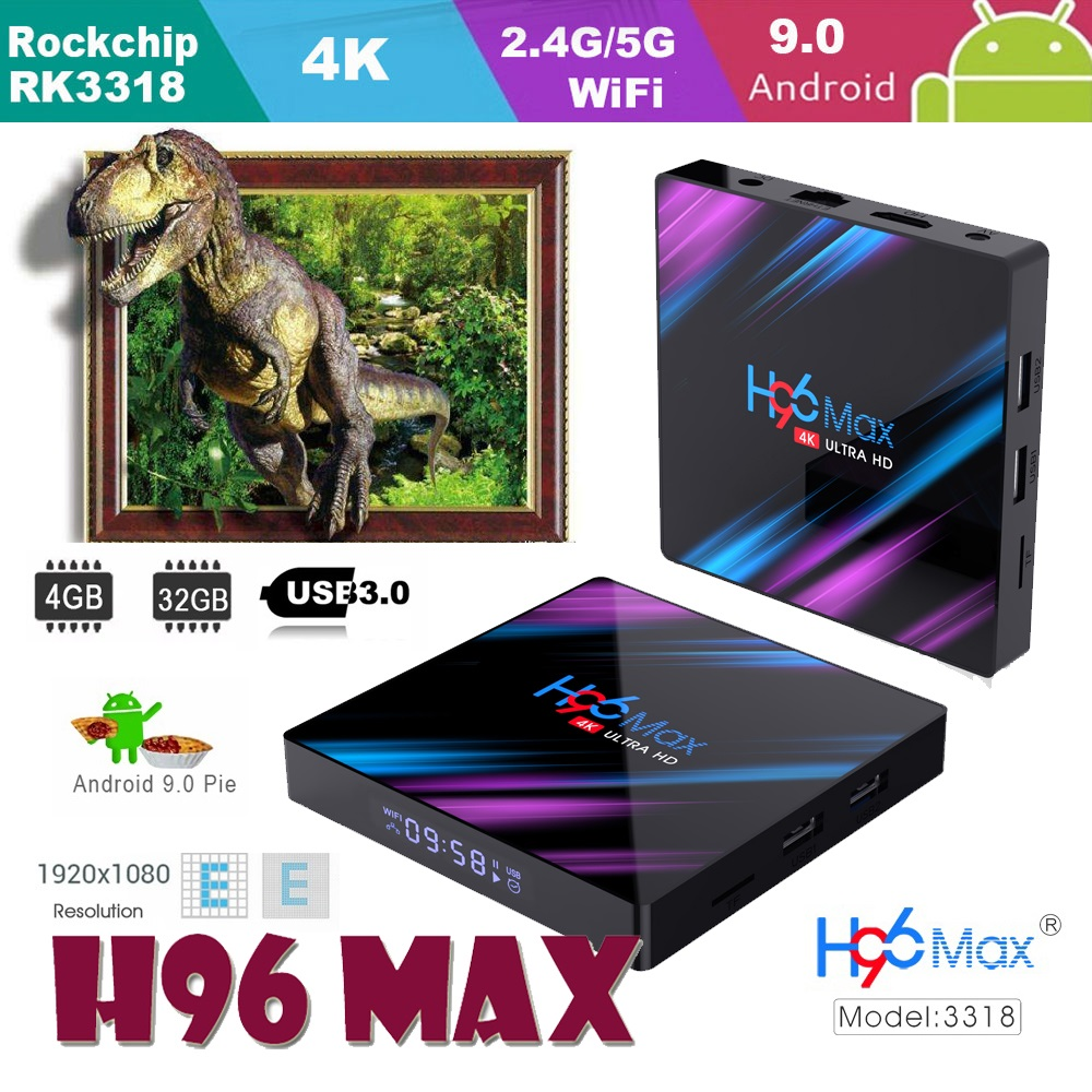 android 9 0 tv set top box h96 max Rockchip boxes RK3318 Built in software Google iptv Box Store Player smart console Youtube 4K in Set top Boxes from Consumer Electronics