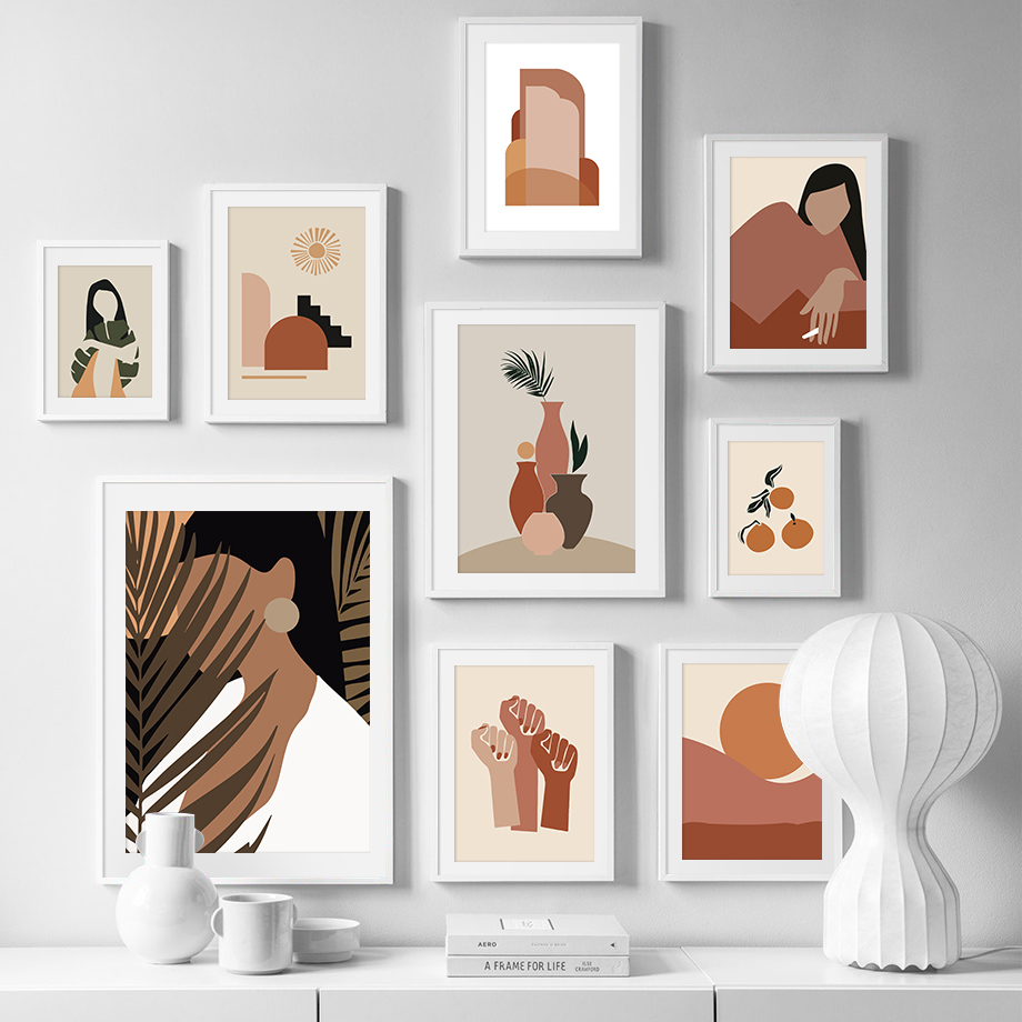 Abstract Girl Orange Vintage Scandinavian Wall Art Canvas Painting Nordic Posters And Prints Wall Pictures For Living Room Decor