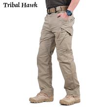 Taktyczne spodnie w stylu cargo mężczyźni wojskowy armii walki wiele kieszeni spodnie bawełniane spodnie Stretch elastyczne mężczyzna spodnie typu casual XXXL 2019 tanie tanio TRIBAL HAWK Cargo pants COTTON Elastan Midweight tactical IX95 Pełnej długości Na co dzień REGULAR Suknem Pockets Zipper fly