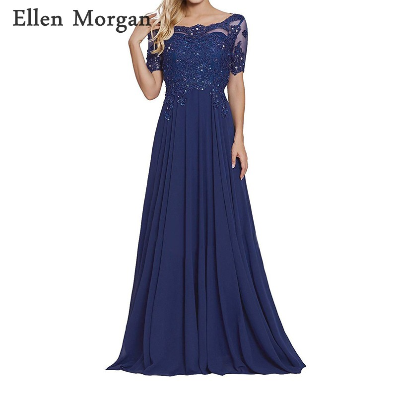 Navy Blue <font><b>Mother</b></font> of the Bride Groom Dresses 2019 A line Lace Short Sleeves Floor length Chiffon for Wedding Party Dinner Gowns image