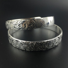 European Carved Style Metal Tibetan Silver Color Vintage Retro Fashion Cuff Bracelet Bangle Free Shipping for Her