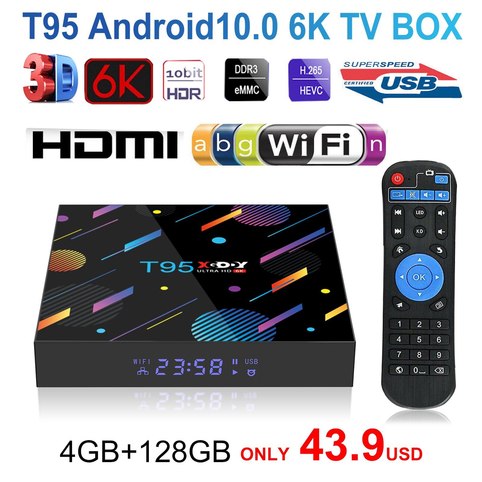 T95 xgody h616 smart tv caixa 4g android 10.0,32gb 64gb 128g 6k hd media player tv 2.4g & 5g conjunto caixa superior