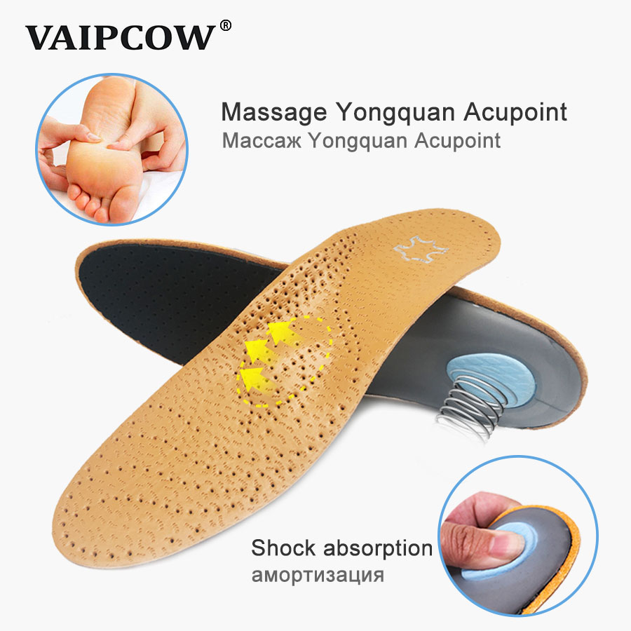 2 pairs Leather orthotics Insole for Flat Foot Arch Support 25mm orthopedic Insoles for men and women Correction OX Leg Shoe pad in Insoles from Shoes