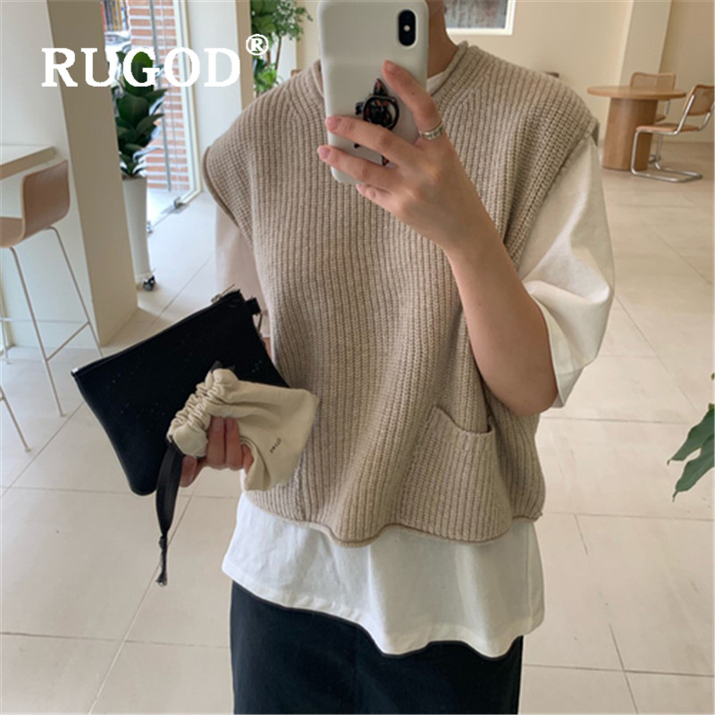 RUGOD O-neck Sweater Women 2019 Korean Style Solid Sleeveless Knitted Vest Pullovers  Preppy Style  Dames Truien