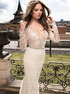 Image 3 - White Lace mermaid Wedding Dresses 2020 Long Sleeve Bridal Gowns Embroidery Beading Crystal Wedding Party Dresses Robe De Mariee