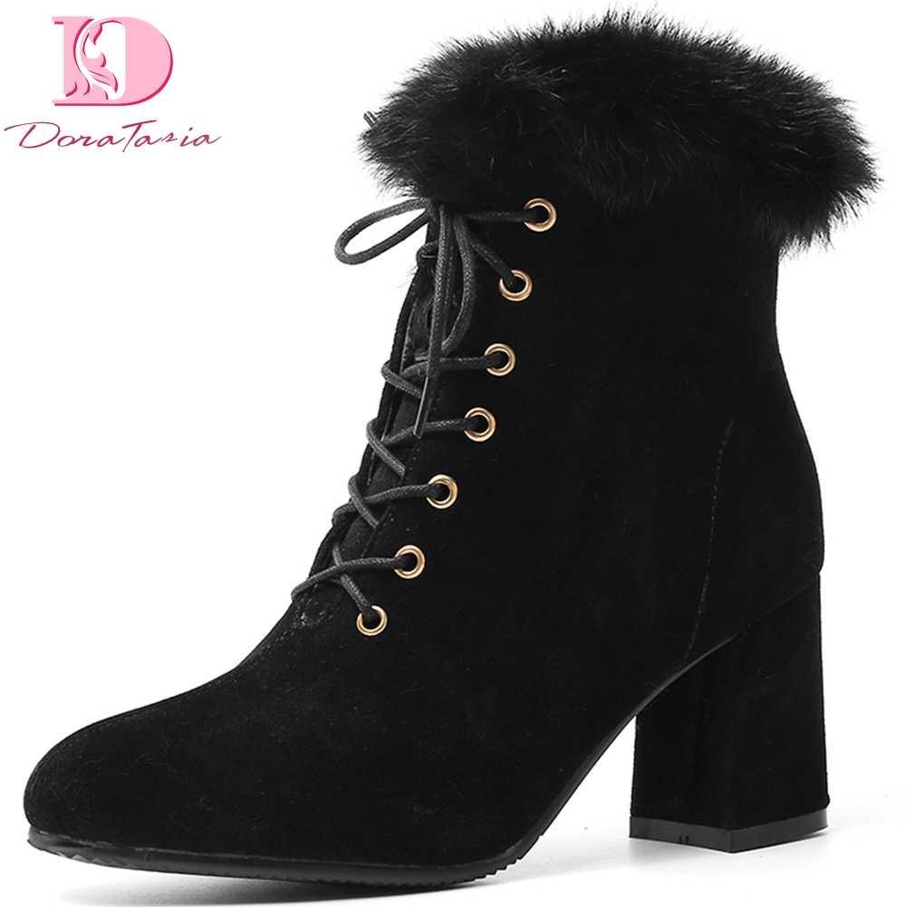 Doratasia 2020 ขนาดใหญ่ 33-46 Elegant chunky รองเท้าส้นสูงข้อเท้ารองเท้าผู้หญิงรองเท้าลูกไม้ขึ้นกระชับฤดูหนาวผู้หญิงรองเท้า