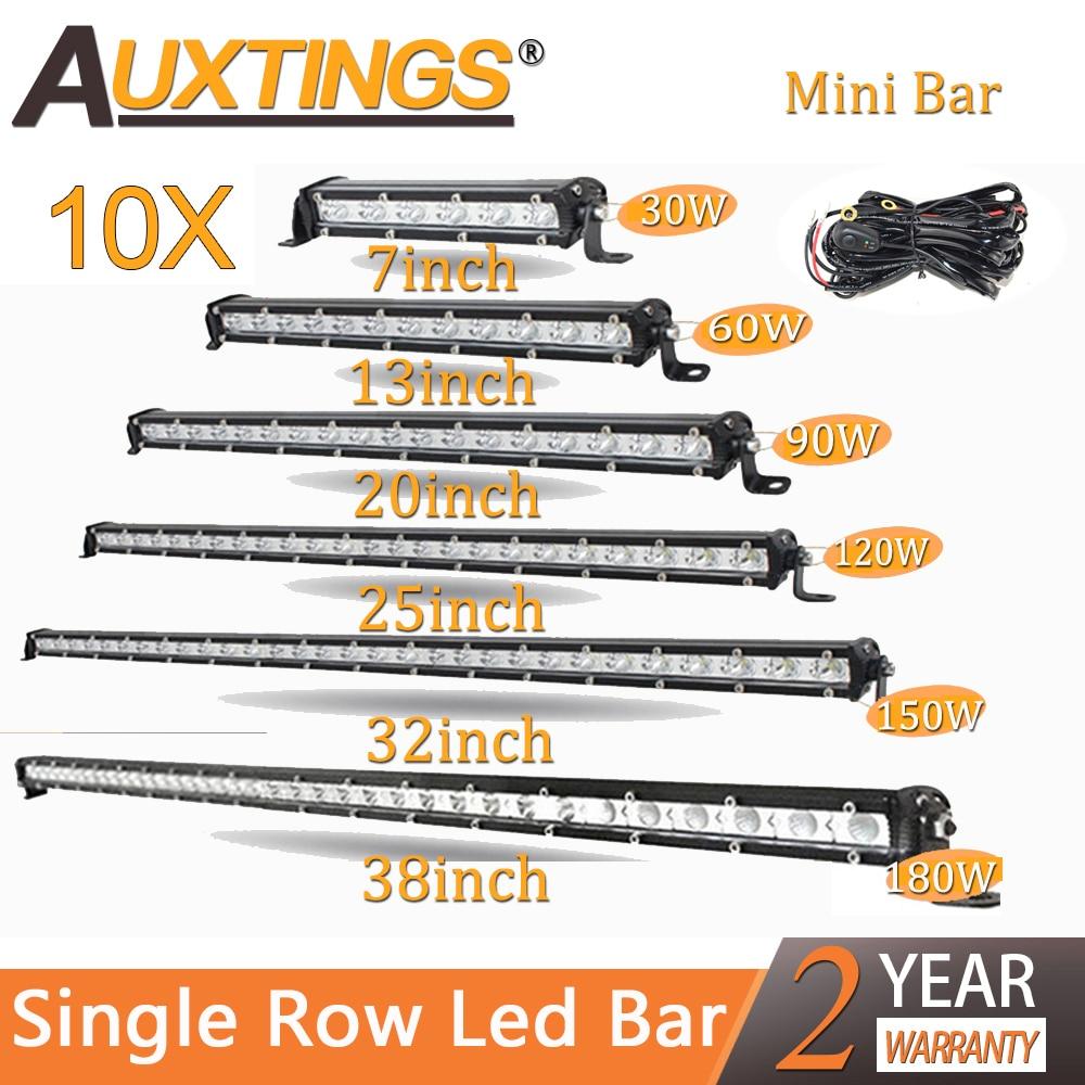 Auxtings Wholesale 10pcs/Lot Slim LED Light Bar Single Row 7