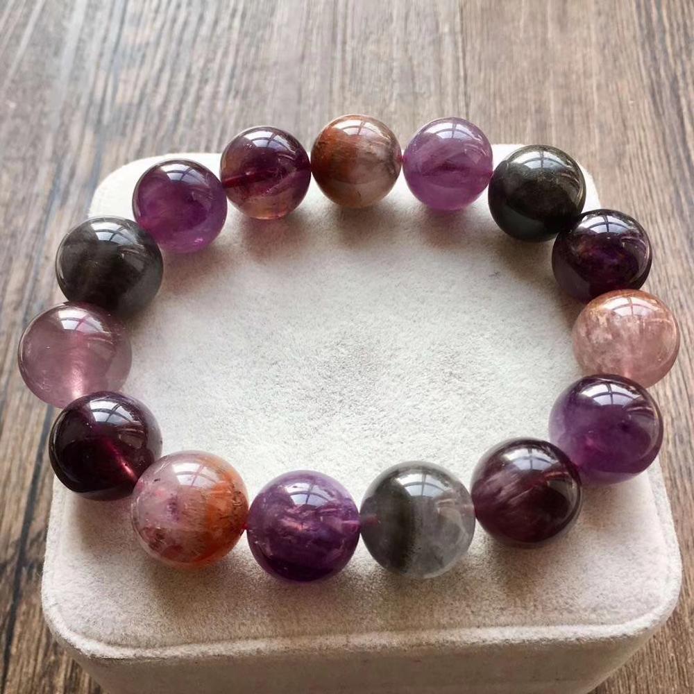 Natural Colorful Auralite 23 Cacoxenite Crystal 14mm Round Beads Bracelet Women Men Healing Stone Bracelet AAAAA