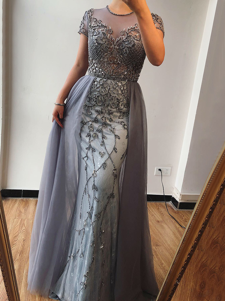 Formal-Dress Crystal Evening-Dresses-Design Serene Hill Mermaid Short-Sleeve Dubai Sexy