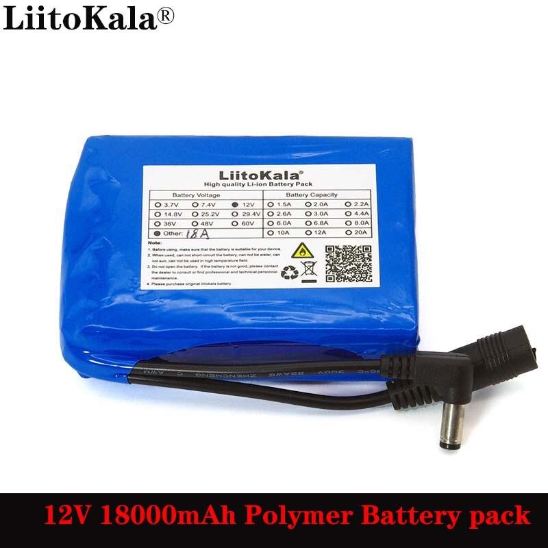 Liitokala 12,6 V 18000mAh полимерный литиевый аккумулятор 12v 18ah для Светодиодный светильник с сигнализацией CCTV Cam Monitor DC 5,5*2,1mm