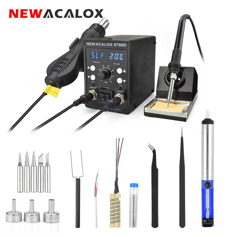 NEWACALOX EU/US 8786 878D Soldering Station 750W Heat Gun 60W Soldering Iron Digital Adjust 2 In 1 SMD Rework Welding Station