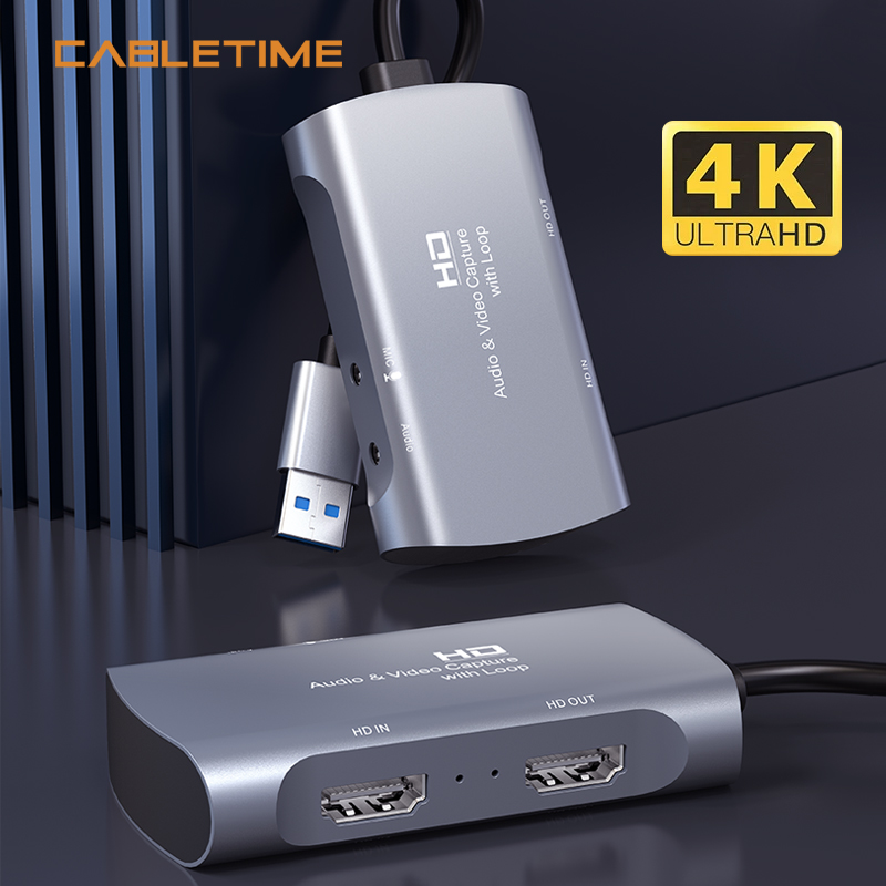 CABLETIME 4K HDMI Capture Card USB 3.0  to USB HD 1080P HDMI Loop Port for Video Live Steaming Camera Recording N430 1