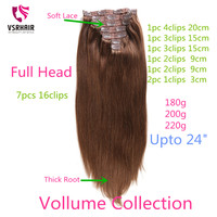 VSR 180g 200g 220g 24inch Machine Remy clip Hair Silky Double Drawn Thick Hair Bottom 7pcs/set Clip In Human Hair Extension