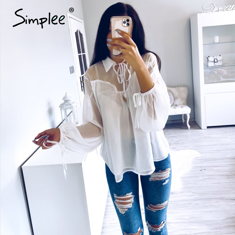 Simplee sexy mesh chiffon women blouse shirt casual lace up female top shirt Lantern sleeve white blouse summer 2020 tops shirt