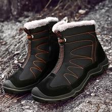 Śniegowce dla mężczyzn pluszowe wodoodporne Slip mężczyźni buty platformy grube odporne buty zimowe Plus rozmiar 38 46 najcieplejsze buty zimowe