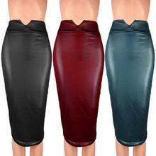купить Leather Skirt High Waist Slim Party Pencil Skirt Women PU Leather Midi Skirt Autumn Ladies Package Pencil Skirt Plus Size по цене 497.6 рублей