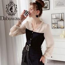 Dabuwawa винтажные Лоскутные шифоновые блузки женские однобортные