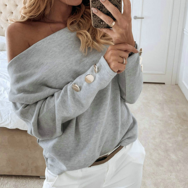 2019  Sexy Off Shoulder Tops and Shirt Sexy Off Shoulder Long Sleeve Solid Color Women Blouse Fall Clothing 3